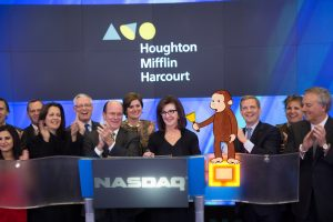 Curious George rings the bell with Houghton Mifflin Harcourt CEO Linda Zecher and Executive Leadership
