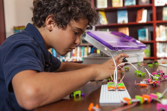 Student in a maker space, courtesy of littleBits.