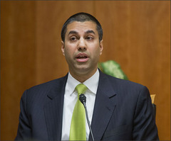 """Federal Communication Commission (FCC) Commissioner Ajit Pai, speaks during an open hearing and vote on Net Neutrality in Washington, Thursday, Feb. 26, 2015. The FCC has agreed to impose strict new regulations on Internet service providers like Comcast, Verizon and AT&T. The regulatory agency voted 3-2 Thursday in favor of rules aimed at enforcing what's called """"net neutrality."""" That's the idea that service providers shouldn't intentionally block or slow web traffic, creating paid fast lanes on the Internet. (AP Photo/Pablo Martinez Monsivais)"""