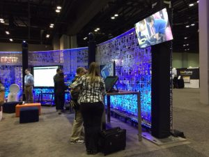 Screens were everywhere to show off instructional software to attendees.