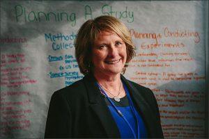A portrait of Patricia Deklotz standing in front of a list of handwritten plans.