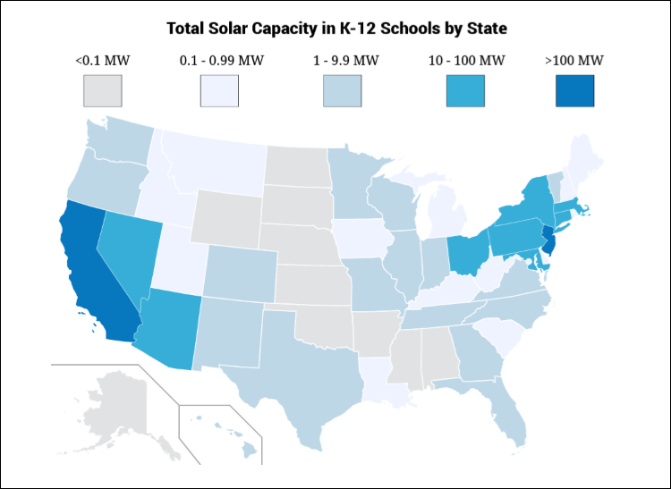 u s map depicting areas with highest and lowest adoption of solar panels on schools
