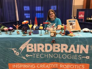 Bambi Brewer showing off creative robots