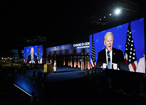 Democratic presidential candidate former Vice President Joe Biden speaks to supporters early Wednesday, Nov. 4, 2020, in Wilmington, Del. (AP Photo/Andrew Harnik)